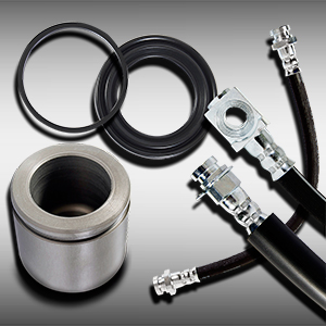 HOSES, PISTONS AND DISC BRAKE CALIPER SEAL KITS